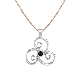 Round Black Onyx Sterling Silver Necklace