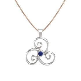 Round Sapphire Sterling Silver Necklace