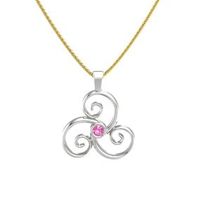 Round Pink Tourmaline Sterling Silver Necklace
