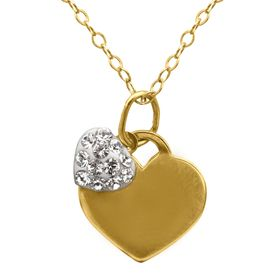 Girl's Double Heart Pendant with Swarovski Crystals