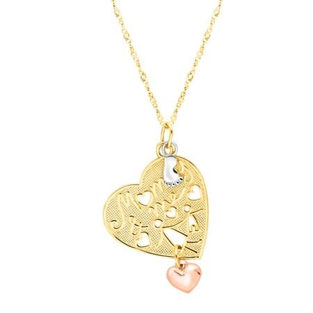 Mommy me heart charm pendant in 18k gold plated sterling silver mommy me heart charm pendant aloadofball Image collections