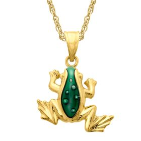 Frog Pendant with Green Enamel