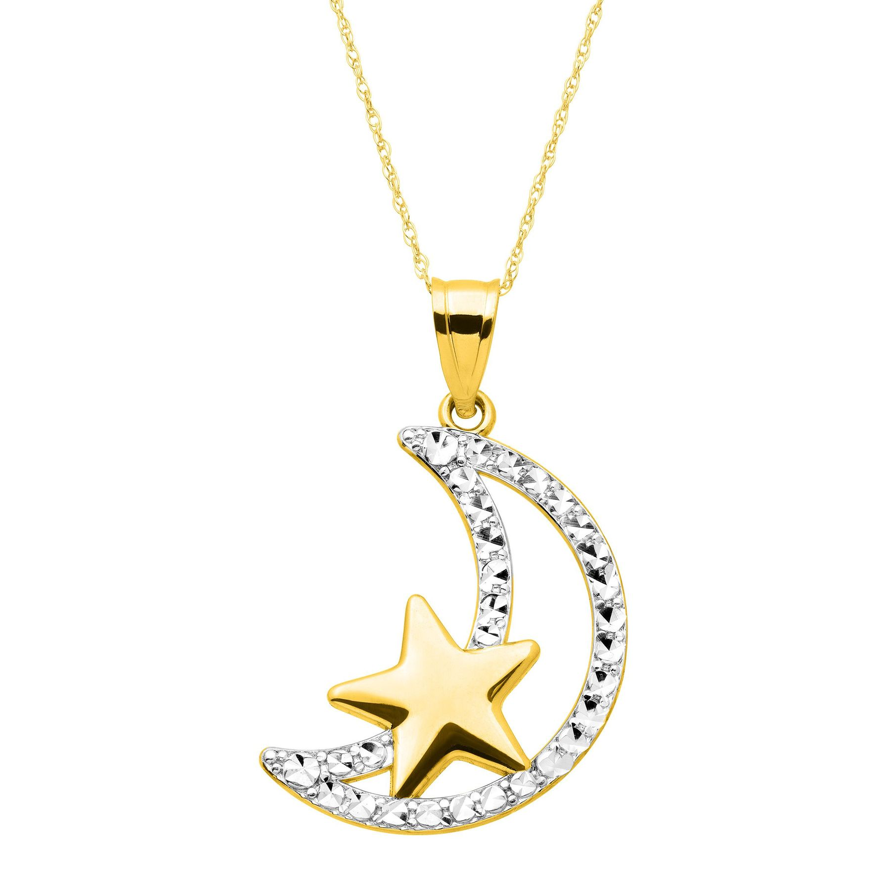 Eternity gold moon star pendant in 14k gold with rhodium finish moon star pendant aloadofball Choice Image