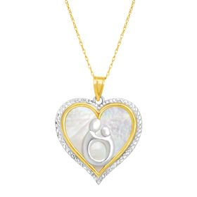 Mother & Child Mother-of-Pearl Heart Pendant