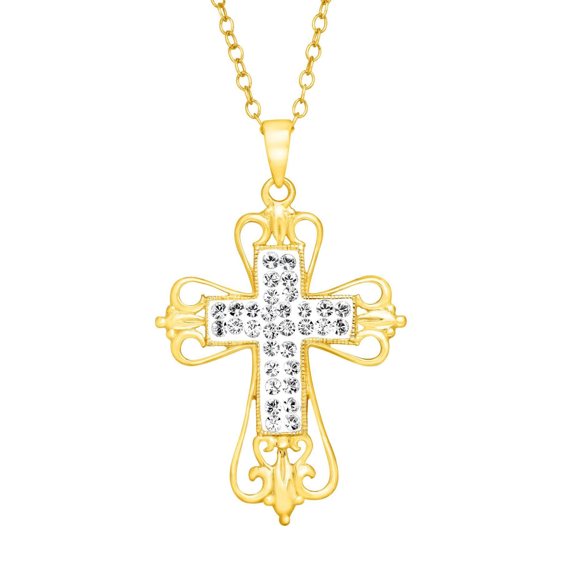 Crystaluxe open swirl cross pendant with swarovski in 18k gold open swirl cross pendant with swarovski crystals aloadofball Choice Image