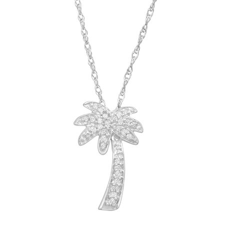 Diamond Palm Tree Pendant in 10k White Gold (1/10 cttw, J-K Color, I2-I3  Clarity), 18