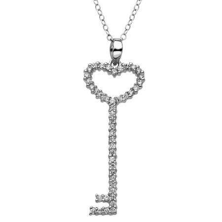 Heart Key Pendant with Cubic Zirconia
