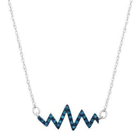 d0328b781 1/10 ct Blue Diamond Heartbeat Pendant in 10K White Gold   1/10 ct ...
