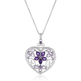Amethyst Heart Pendant with Diamond