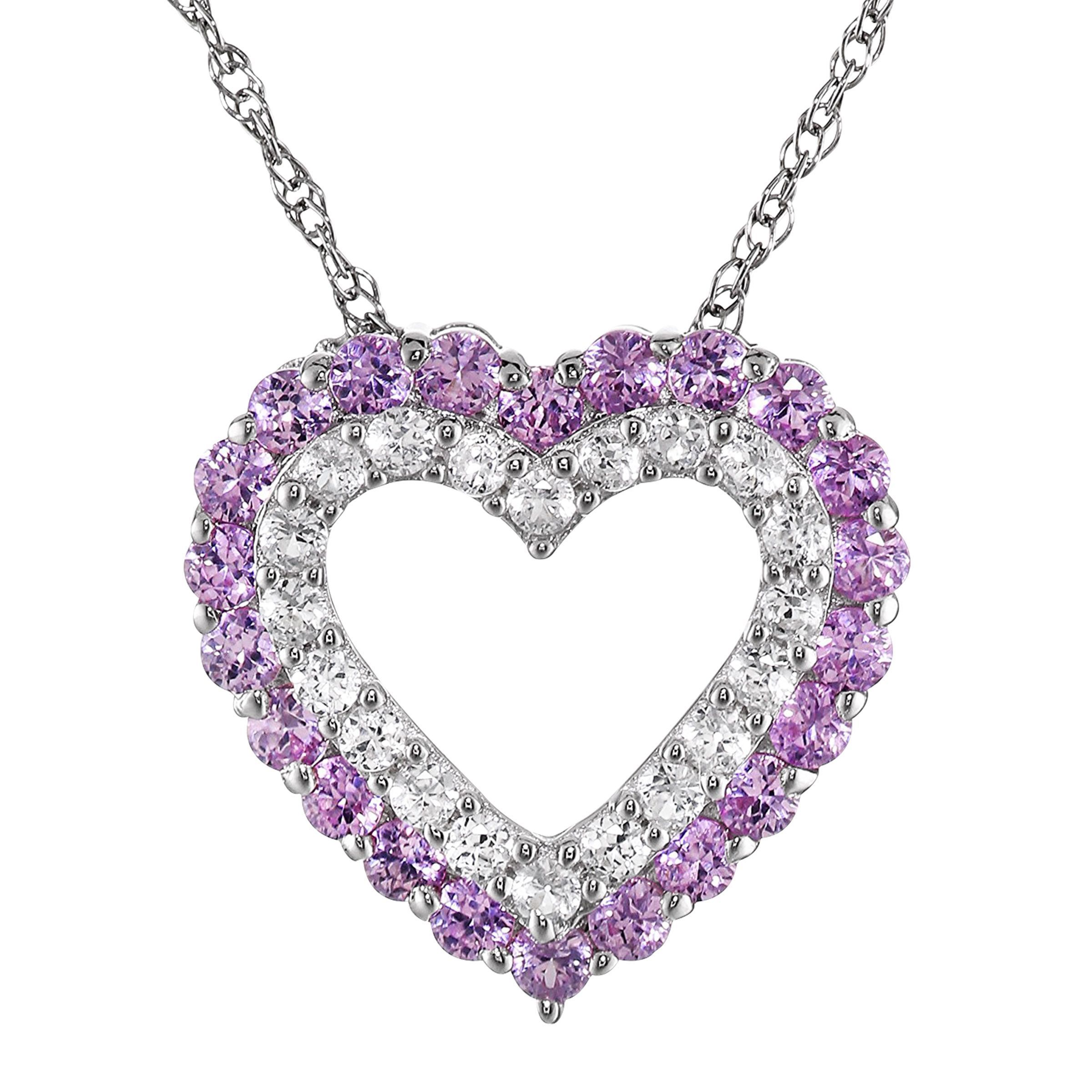 1 1/2 ct Created Pink & White Sapphire Heart Frame Pendant in ...