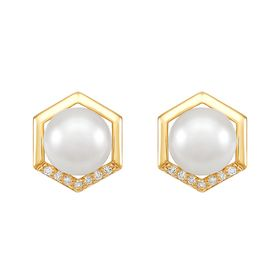 7-7.5 mm White Pearl Hexagon Earrings with Diamonds