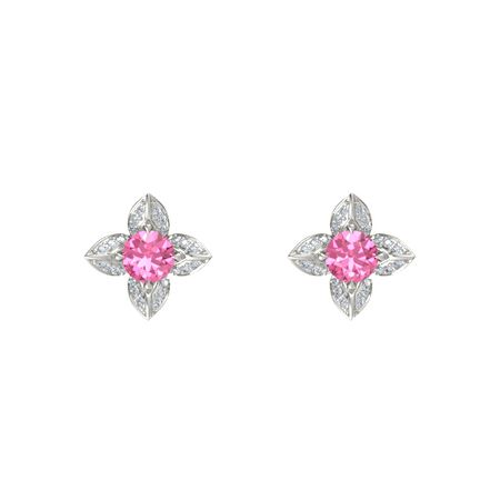 Lotus Stud Earrings 5mm Gems Round Pink Tourmaline 14k White Gold Earring With Diamond