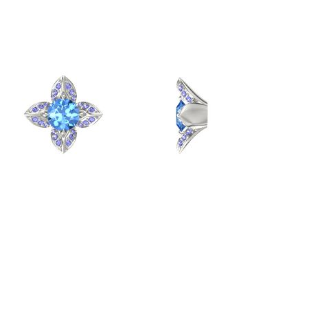 Lotus Stud Earrings (5mm gems)