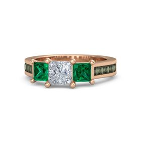Princess Diamond 14K Rose Gold Ring with Emerald and Green Tourmaline