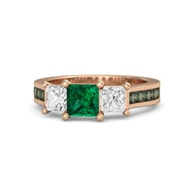 Princess Emerald 14K Rose Gold Ring with White Sapphire and Green Tourmaline