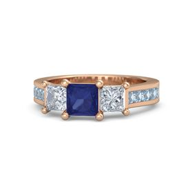 Princess Blue Sapphire 14K Rose Gold Ring with Diamond and Blue Topaz