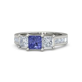 Princess Tanzanite 14K White Gold Ring with Diamond