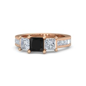 Princess Black Onyx 18K Rose Gold Ring with Diamond