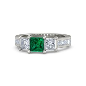 Princess Emerald 18K White Gold Ring with Diamond