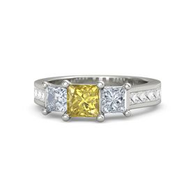 Princess Yellow Sapphire 18K White Gold Ring with Diamond and White Sapphire