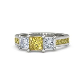 Princess Yellow Sapphire 18K White Gold Ring with Diamond and Yellow Sapphire