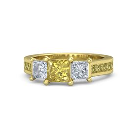 Princess Yellow Sapphire 18K Yellow Gold Ring with Diamond and Yellow Sapphire