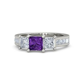 Princess Amethyst Palladium Ring with Diamond