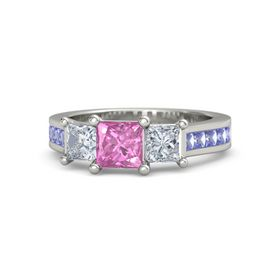 Princess Pink Sapphire Platinum Ring with Diamond and Iolite