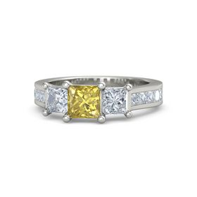 Princess Yellow Sapphire Platinum Ring with Diamond
