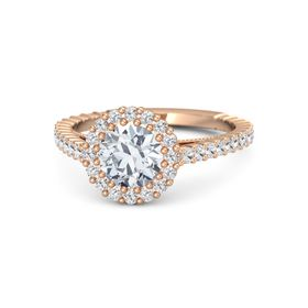 Round Moissanite 14K Rose Gold Ring with White Sapphire