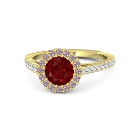 Round Ruby 14K Yellow Gold Ring with White Sapphire and Rhodolite Garnet