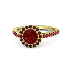 Round Ruby 14K Yellow Gold Ring with Ruby and Red Garnet