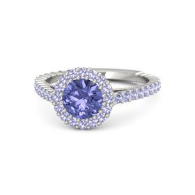 Round Tanzanite Platinum Ring with Tanzanite