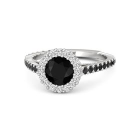 Round Black Onyx Sterling Silver Ring with Black Diamond & White Sapphire