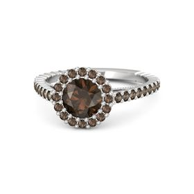 Round Smoky Quartz Sterling Silver Ring with Smoky Quartz