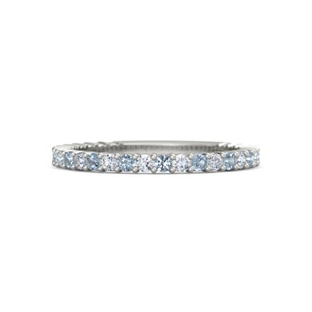 14k White Gold Ring With Blue Topaz And Diamond Raquel Band Gemvara