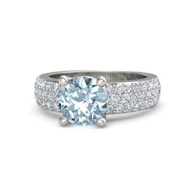 Round Aquamarine 14K White Gold Ring with Diamond