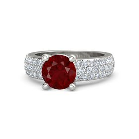 Round Ruby 18K White Gold Ring with Diamond