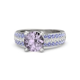 Round Rose de France Sterling Silver Ring with White Sapphire and Iolite