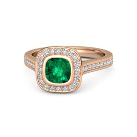 Cushion Emerald 14K Rose Gold Ring with Diamond