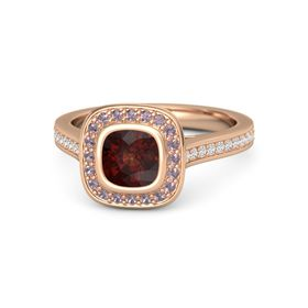 Cushion Red Garnet 14K Rose Gold Ring with Rhodolite Garnet and White Sapphire