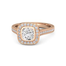Cushion White Sapphire 14K Rose Gold Ring with Diamond