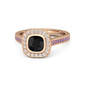 Cushion Black Onyx 14K Rose Gold Ring with White Sapphire and Amethyst
