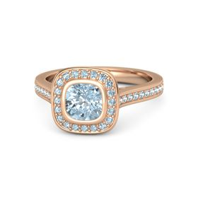 Cushion Aquamarine 14K Rose Gold Ring with Aquamarine