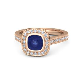 Cushion Sapphire 14K Rose Gold Ring with Diamond