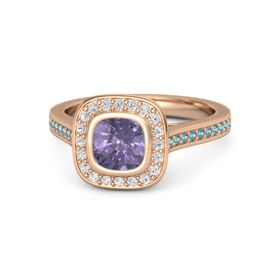 Cushion Iolite 14K Rose Gold Ring with White Sapphire and London Blue Topaz