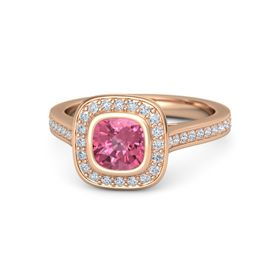 Cushion Pink Tourmaline 14K Rose Gold Ring with Diamond