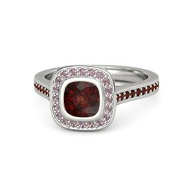 Cushion Red Garnet 14K White Gold Ring with Rhodolite Garnet and Red Garnet