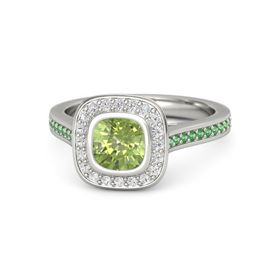 Cushion Peridot 14K White Gold Ring with White Sapphire & Emerald