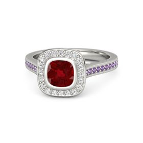 Cushion Ruby 14K White Gold Ring with White Sapphire and Amethyst